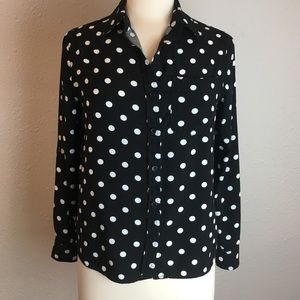 Velvet Heart Black & White polka dot button down